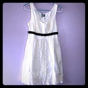 Anthro Edme & Esylte Cotton Cream Eyelet Sun Dress